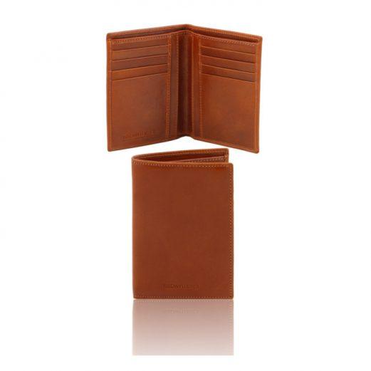 イタリア製本牛革カーフ・サフィアーノレザーのメンズ財布(紙幣入れ2か所)ハニー