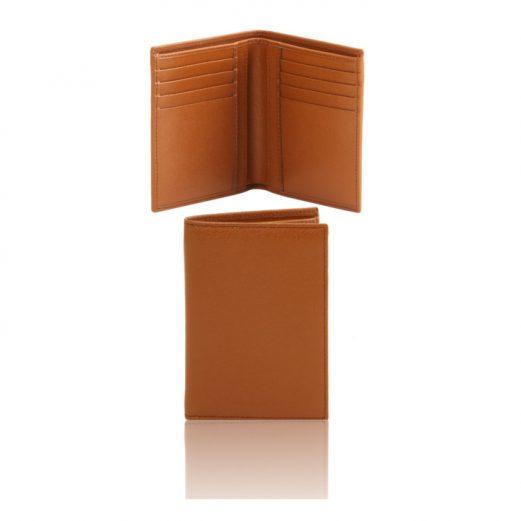 イタリア製本牛革カーフ・サフィアーノレザーのメンズ財布(紙幣入れ2か所)コニャック