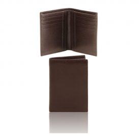 イタリア製本牛革カーフ・サフィアーノレザーのメンズ財布(紙幣入れ2か所)ダークブラウン