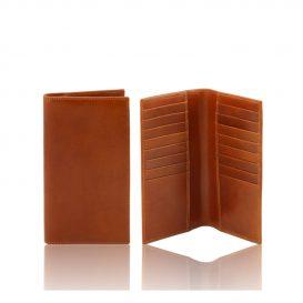 イタリア製本牛革カーフレザーのメンズ長財布、ハニー