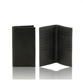 イタリア製本牛革カーフ・サフィアーノレザーのメンズ長財布、ブラック、黒