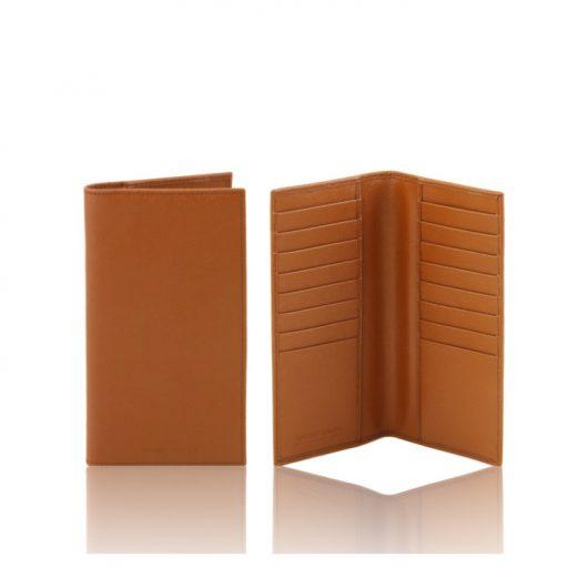 イタリア製本牛革カーフ・サフィアーノレザーのメンズ長財布、コニャック