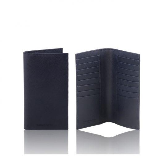 イタリア製本牛革カーフ・サフィアーノレザーのメンズ長財布、ダークブルー