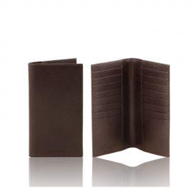 イタリア製本牛革カーフ・サフィアーノレザーのメンズ長財布、ダークブラウン