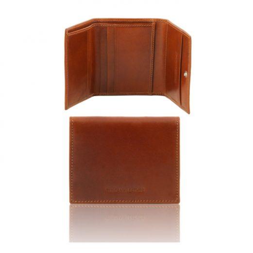 イタリア製本牛革カーフレザーの3つ折りメンズ財布、ハニー