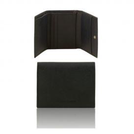 イタリア製本牛革カーフ・サフィアーノレザーの3つ折りメンズ財布、ブラック、黒