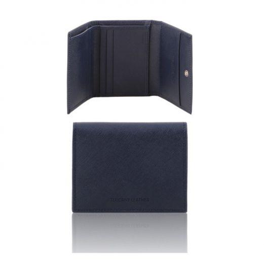 イタリア製本牛革カーフ・サフィアーノレザーの3つ折りメンズ財布、ダークブルー、ネイビー紺