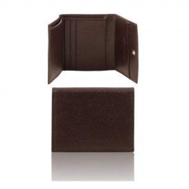 イタリア製本牛革カーフ・サフィアーノレザーの3つ折りメンズ財布、ダークブラウン