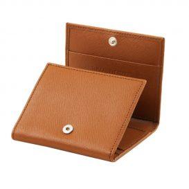 イタリア製本牛革カーフ・サフィアーノレザーの3つ折りメンズ財布、ハニー