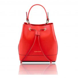 MINERVA イタリア製本革サフィアーノ・カーフレザーの巾着バッグ・レッド・赤