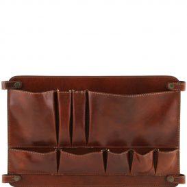 イタリア製ベジタブルタンニンレザーのバッグ仕切りモジュール(ポケットつき)TL SMART MODULE、ブラウン