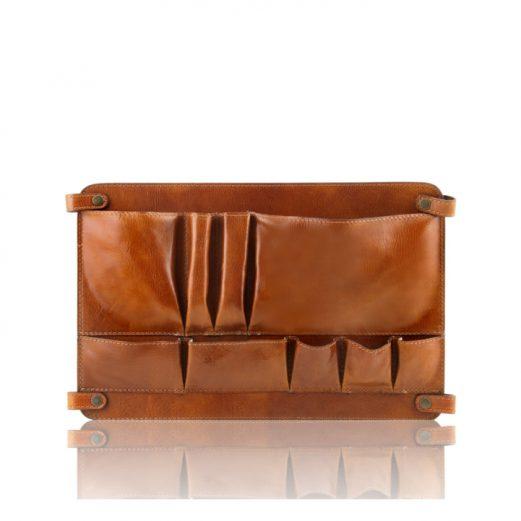 イタリア製ベジタブルタンニンレザーのバッグ仕切りモジュール(ポケットつき)TL SMART MODULE、ハニー