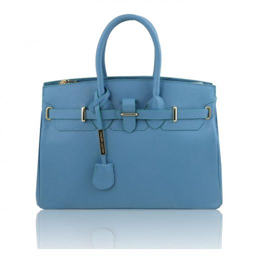 イタリア製・シボ加工カーフレザーのエレガントなハンドバッグTL BAG・ライトブルー・ブルー・ロイヤルブルー・青