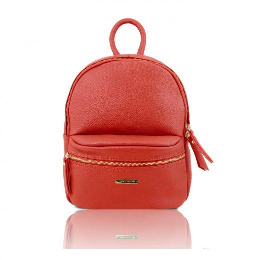 イタリア製・柔らかいカーフレザーのリュック TL BAG・レッド・赤