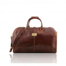 イタリア製ベジタブルタンニンレザーの旅行/衣装バッグ ANTIGUA、ブラウン