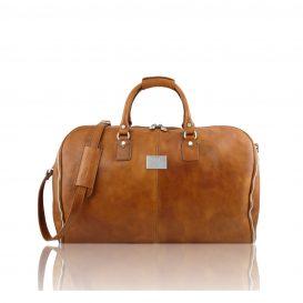イタリア製ANTIGUA ベジタブルタンニンレザーの旅行/衣装バッグ、ナチュラル