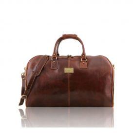 イタリア製ANTIGUA ベジタブルタンニンレザーの旅行/衣装バッグ、ブラウン、茶色