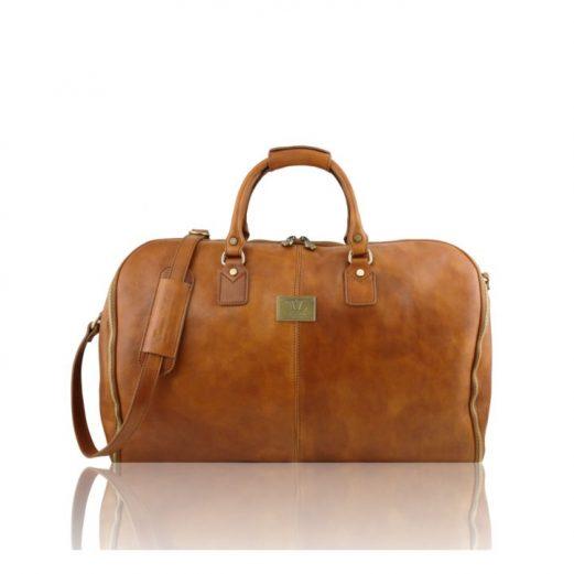 イタリア製ANTIGUA ベジタブルタンニンレザーの旅行/衣装バッグ、ナチュラル、生成り、コニャック