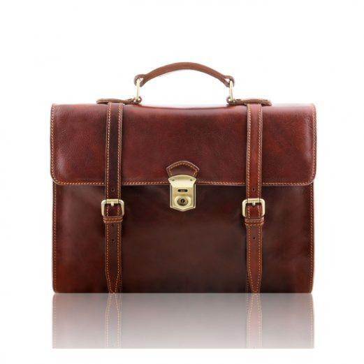 イタリア製VIAREGGIO 本牛革ベジタブルタンニンレザーの3WAY・PC搬送バッグ、ブラウン、茶色