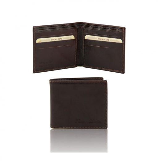 イタリア製ベジタブルタンニンレザーの2室小銭入れ無しメンズ財布、ダークブラウン