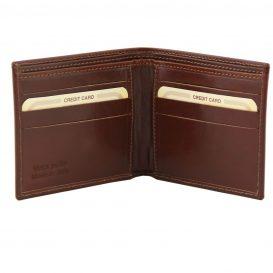 イタリア製ベジタブルタンニンレザーの2室小銭入れ無しメンズ財布、詳細