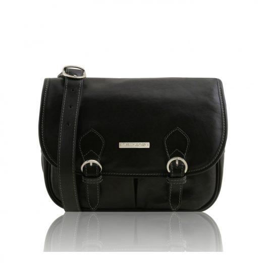 GIULIAイタリア製 ベジタブルタンニンレザーのショルダーバッグ、ブラック、黒