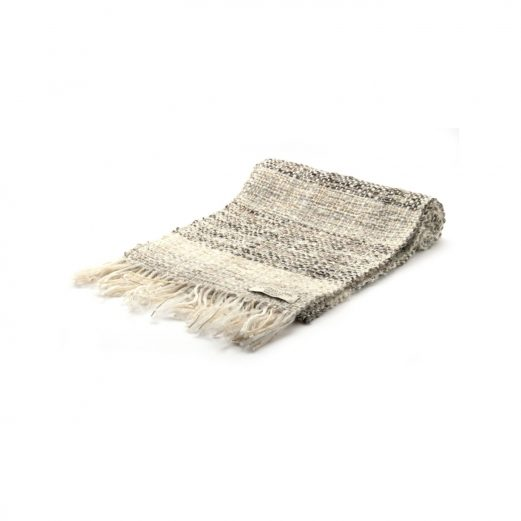 イタリア製ハンドメイド手織りマフラー、ステファノ・チャッピ、stefano ciappi、ナチュラル、生成り、ベージュ、白、アイボリー、白黒