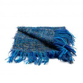 イタリア製ハンドメイド手織りマフラー、ステファノ・チャッピ、stefano ciappi、青、ブルー