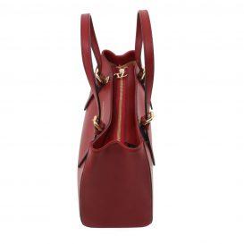 イタリア製AURA ルーガ・カーフレザーの2WAYハンドバッグ、レッド、詳細2