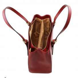 イタリア製AURA ルーガ・カーフレザーの2WAYハンドバッグ、レッド、詳細1
