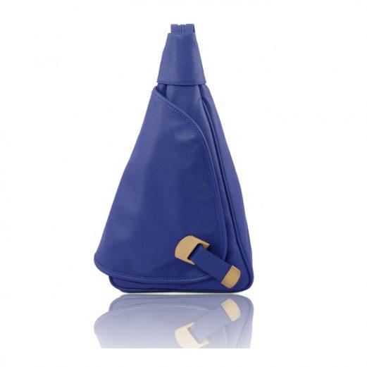 イタリア製HANOI柔らかいソヴァージュレザーのリュック、ブルー、青