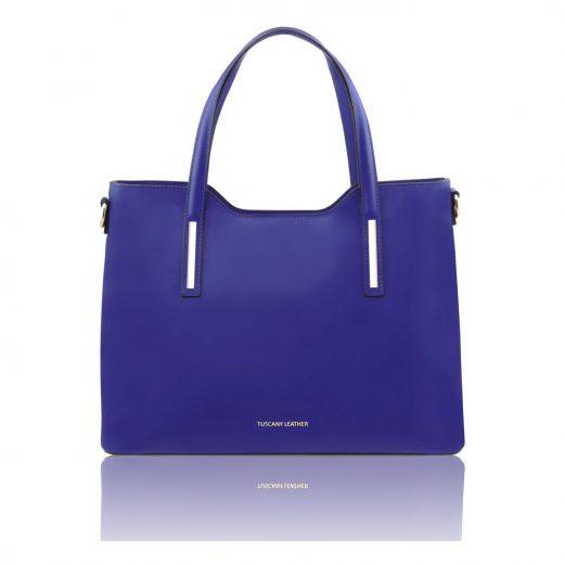 OLIMPIAイタリア製 ルーガ・カーフレザーの2WAYショッピングバッグ(大)ブルー