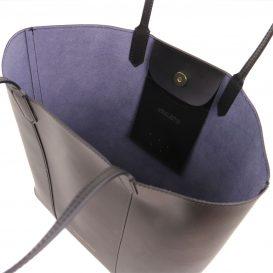 イタリア製本革トートバッグ、スムースレザー、シンプルトートバッグ、DAFNE、ブラック、黒、詳細1