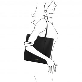 イタリア製本革トートバッグ、スムースレザー、シンプルトートバッグ、DAFNE、ブラック、黒、詳細2