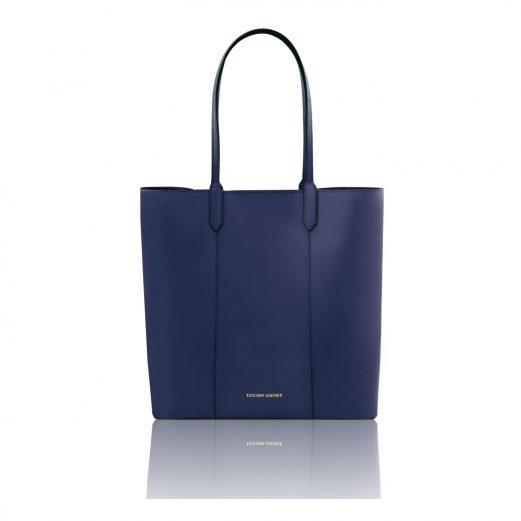 イタリア製本革トートバッグ、スムースレザー、シンプルトートバッグ、DAFNE、ダークブルー、ネイビー、青