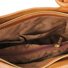 イタリア製PATTY サフィアーノレザー・リュック&ショルダー2way バッグ、コニャック、キャメル詳細5
