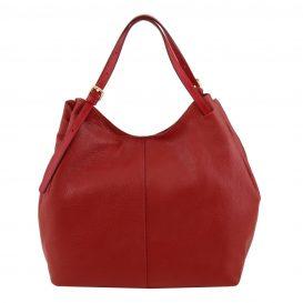 イタリア製CINZIA 柔らかいカーフレザーのショルダーバッグ、レッド、赤、詳細2