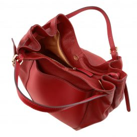 イタリア製CINZIA 柔らかいカーフレザーのショルダーバッグ、レッド、赤、詳細3