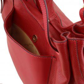 イタリア製CINZIA 柔らかいカーフレザーのショルダーバッグ、レッド、赤、詳細4