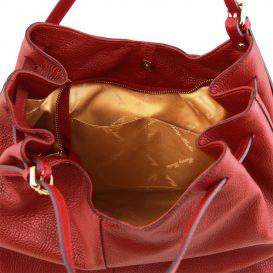 イタリア製CINZIA 柔らかいカーフレザーのショルダーバッグ、レッド、赤、詳細5