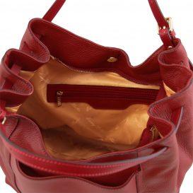 イタリア製CINZIA 柔らかいカーフレザーのショルダーバッグ、レッド、赤、詳細6