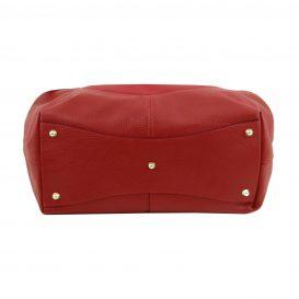 イタリア製CINZIA 柔らかいカーフレザーのショルダーバッグ、レッド、赤、詳細7