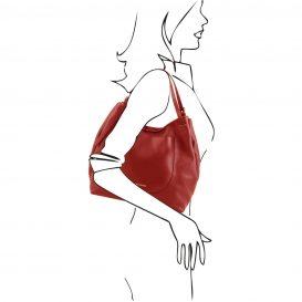 イタリア製CINZIA 柔らかいカーフレザーのショルダーバッグ、レッド、赤、詳細8