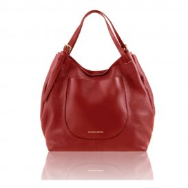 イタリア製CINZIA 柔らかいカーフレザーのショルダーバッグ、レッド、赤