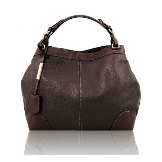 イタリア製AMBROSIA 柔らかいカーフレザーの2WAYハンドバッグ、ダークブラウン、チョコレート、こげ茶