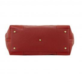 イタリア製AMBROSIA 柔らかいカーフレザーの2WAYハンドバッグ、レッド詳細1