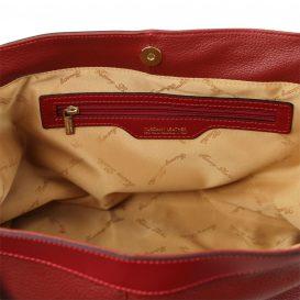 イタリア製AMBROSIA 柔らかいカーフレザーの2WAYハンドバッグ、レッド詳細