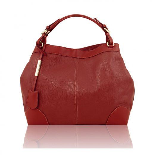 イタリア製AMBROSIA 柔らかいカーフレザーの2WAYハンドバッグ、レッド、赤
