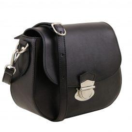 イタリア製カーフレザーのショルダーバッグ 、サドルバッグ、、ブラック、黒、詳細1