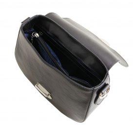 イタリア製カーフレザーのショルダーバッグ 、サドルバッグ、、ブラック、黒、詳細3